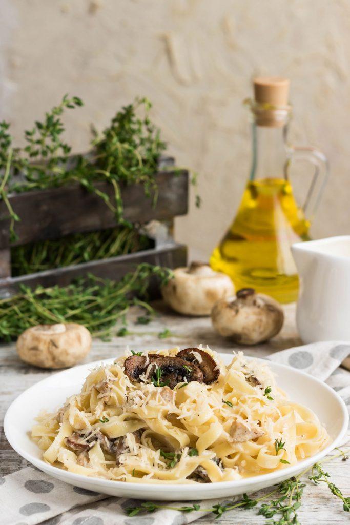 Asparagus and Mushroom Fettuccine