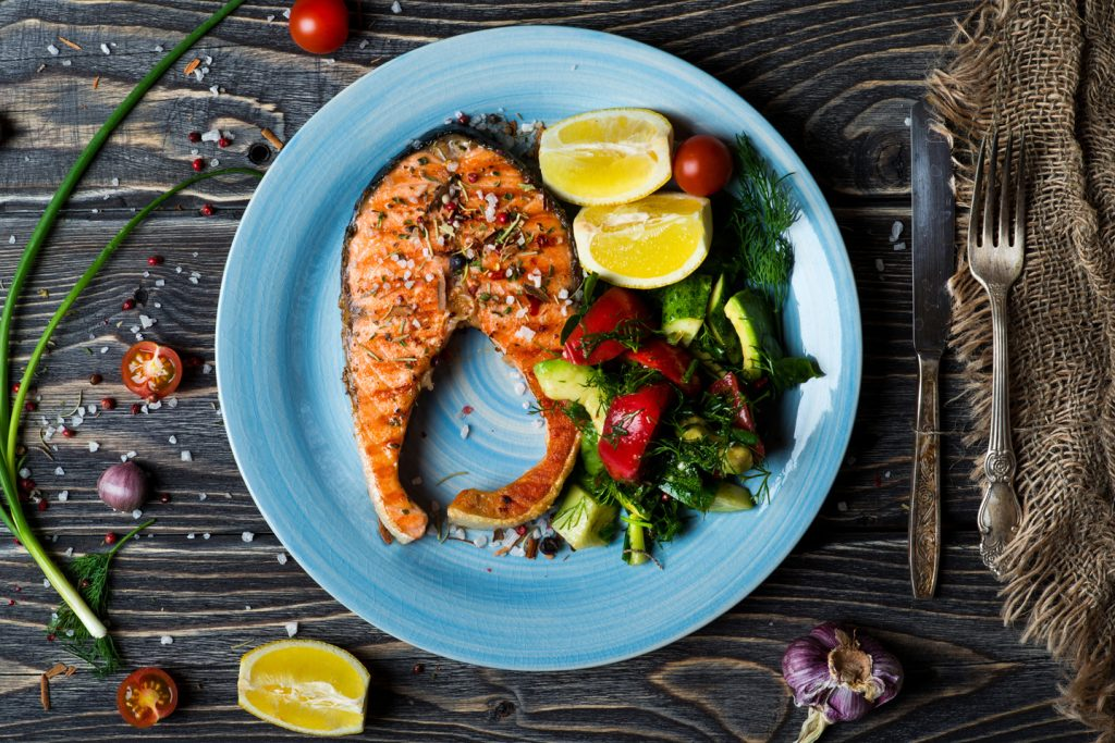 Buckwheat Honey with Grilled Salmon Salad