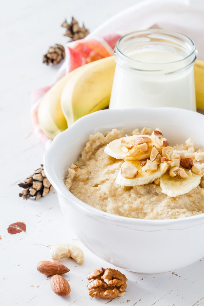 Banana oatmeal with chocolate chips